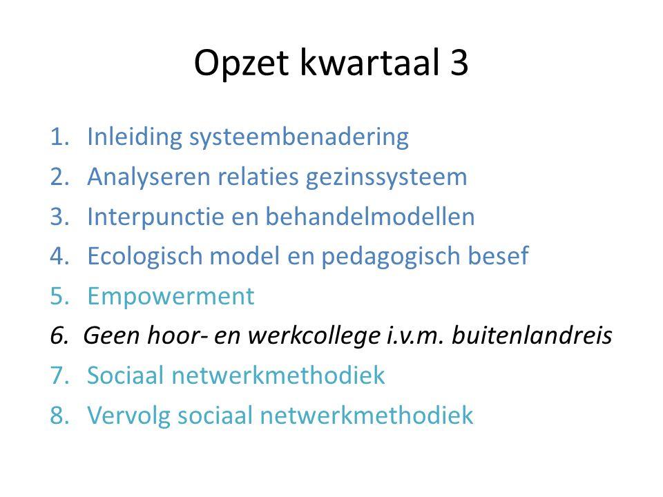 Opzet kwartaal 3 Inleiding systeembenadering