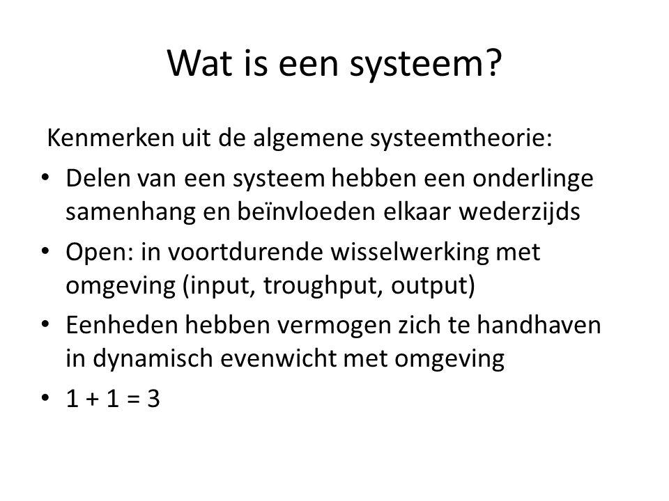 Wat is een systeem Kenmerken uit de algemene systeemtheorie: