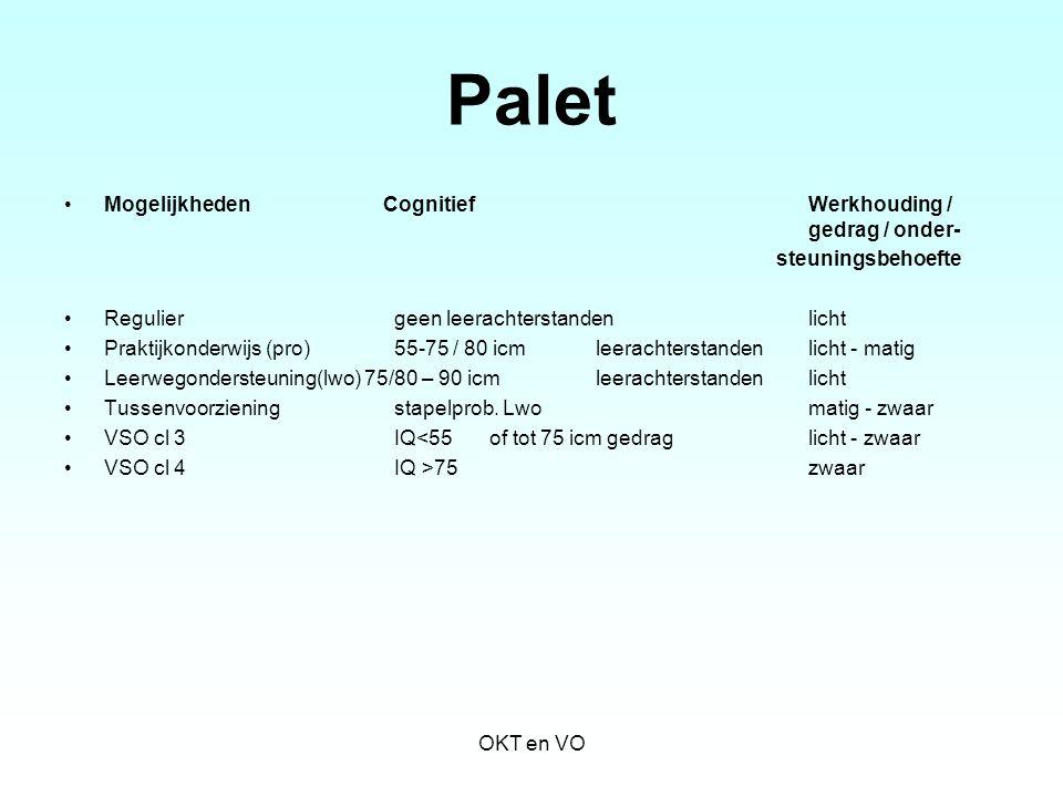 Palet Mogelijkheden Cognitief Werkhouding / gedrag / onder-