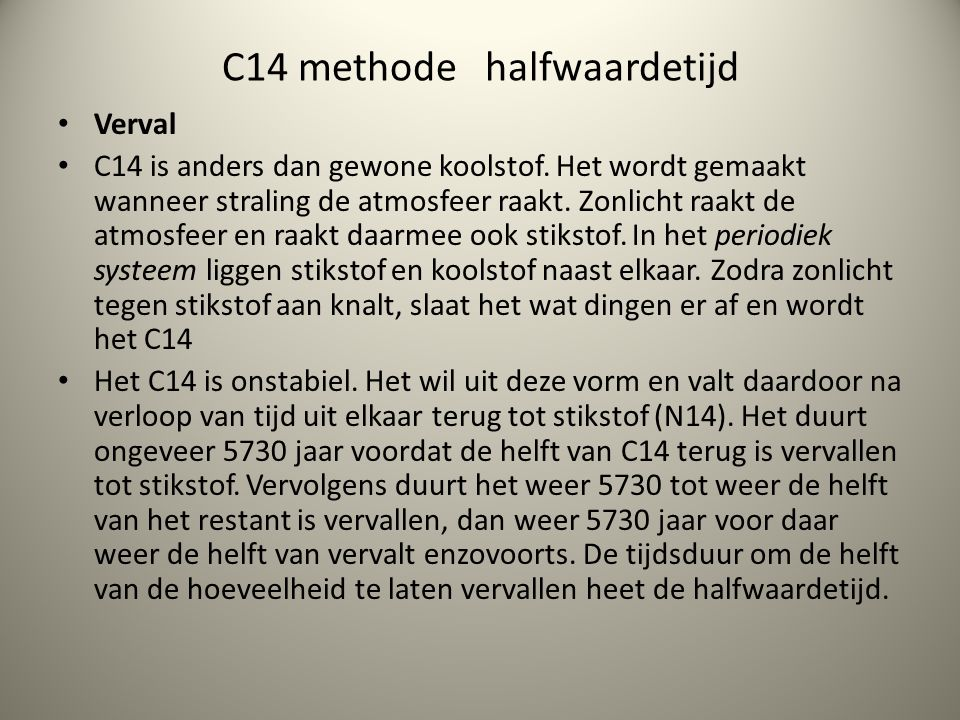C14 methode halfwaardetijd
