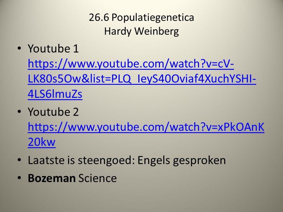 26.6 Populatiegenetica Hardy Weinberg