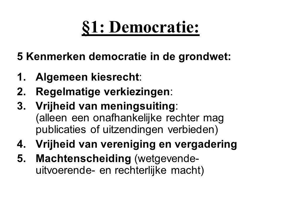 §1: Democratie: 5 Kenmerken democratie in de grondwet: