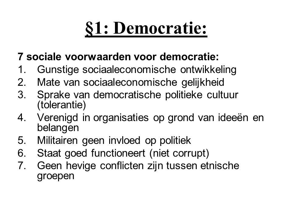 §1: Democratie: 7 sociale voorwaarden voor democratie: