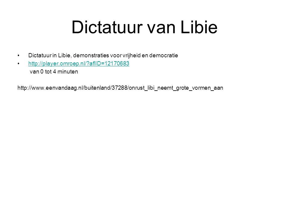 Dictatuur van Libie Dictatuur in Libie, demonstraties voor vrijheid en democratie. http://player.omroep.nl/ aflID=12170683.