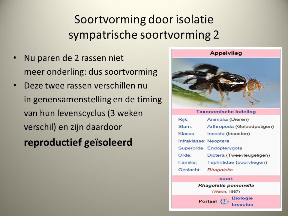 Soortvorming door isolatie sympatrische soortvorming 2