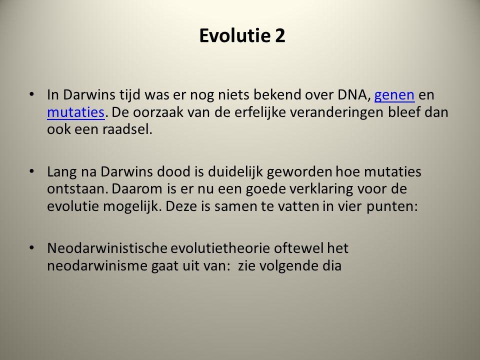 Evolutie 2 In Darwins tijd was er nog niets bekend over DNA, genen en mutaties. De oorzaak van de erfelijke veranderingen bleef dan ook een raadsel.