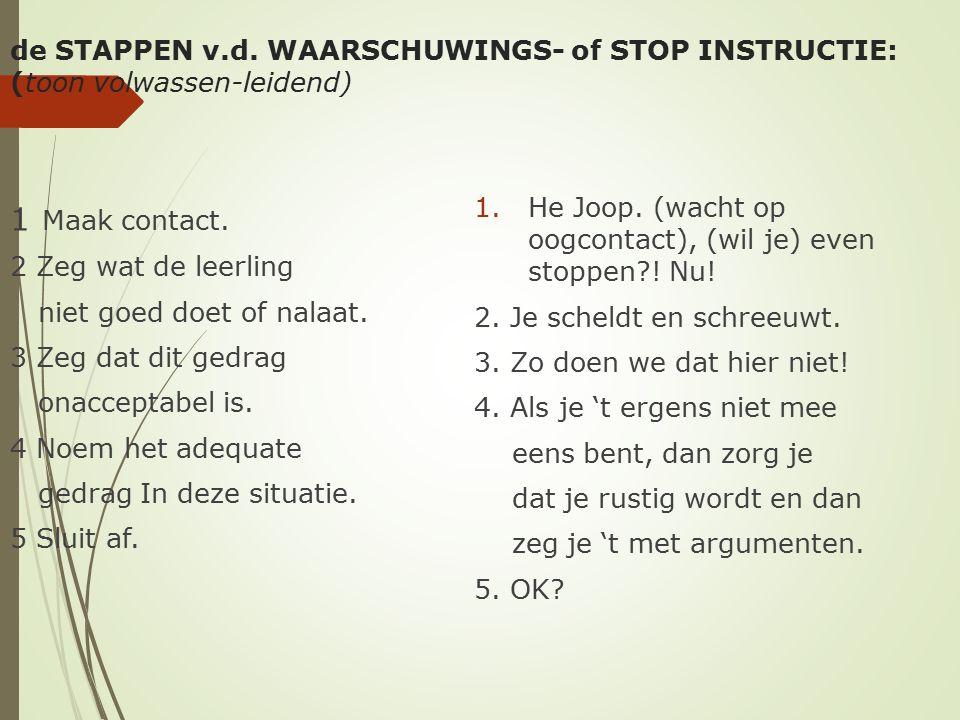 de STAPPEN v.d. WAARSCHUWINGS- of STOP INSTRUCTIE: (toon volwassen-leidend)