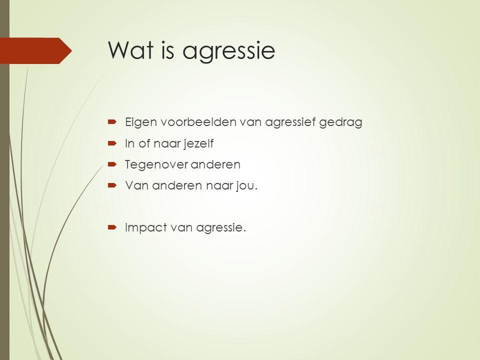 Wat is agressie Eigen voorbeelden van agressief gedrag