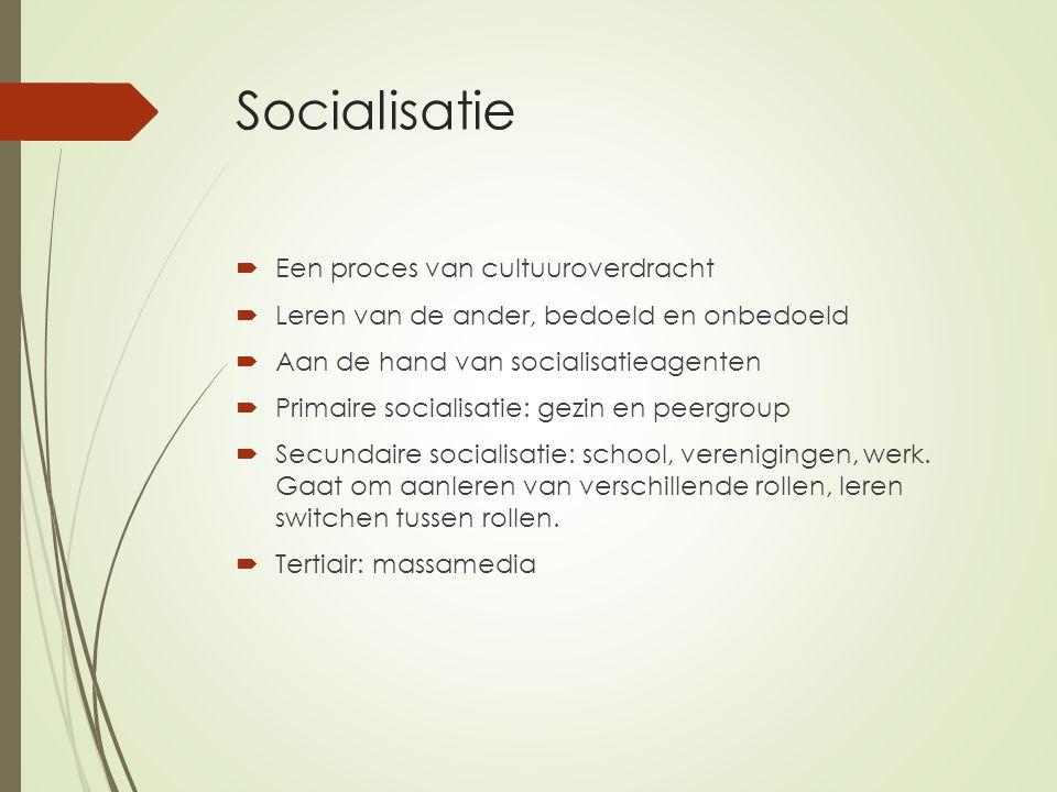 Socialisatie Een proces van cultuuroverdracht