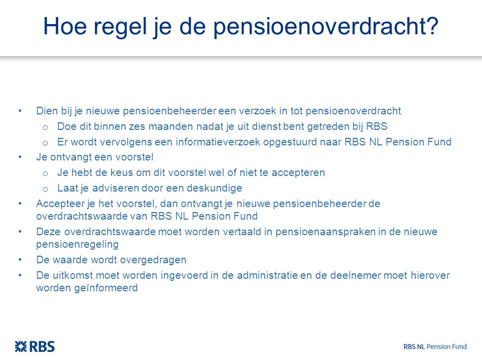 Hoe regel je de pensioenoverdracht