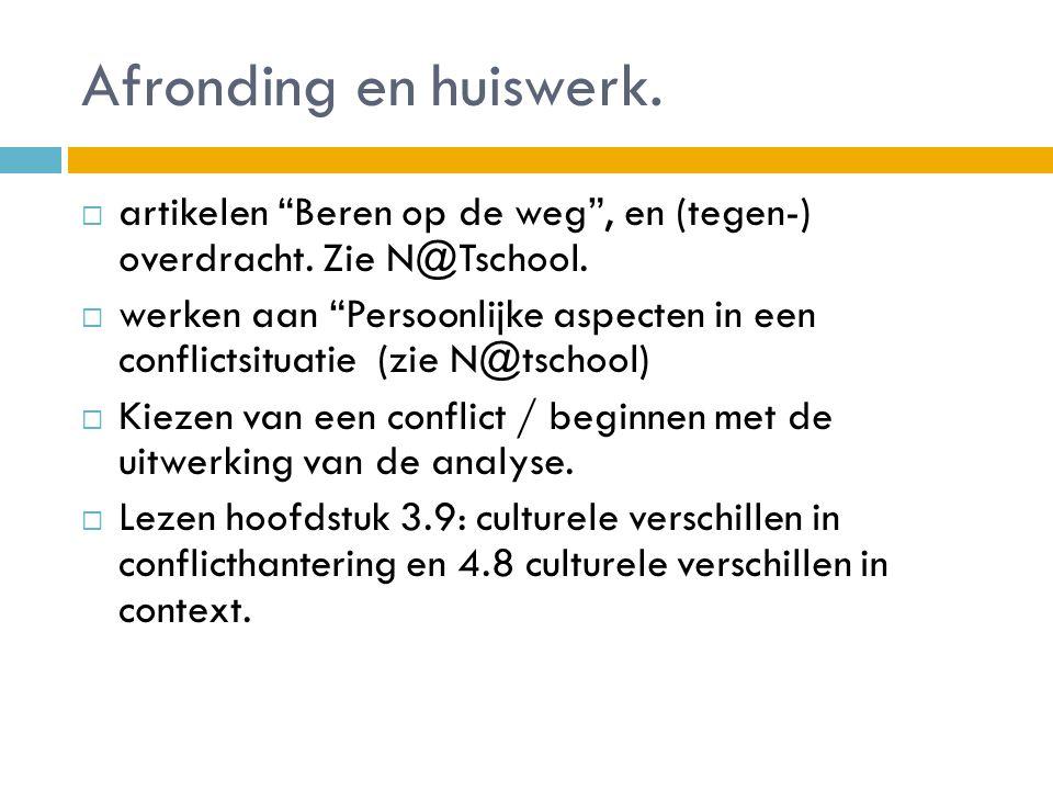 Afronding en huiswerk. artikelen Beren op de weg , en (tegen-) overdracht. Zie N@Tschool.