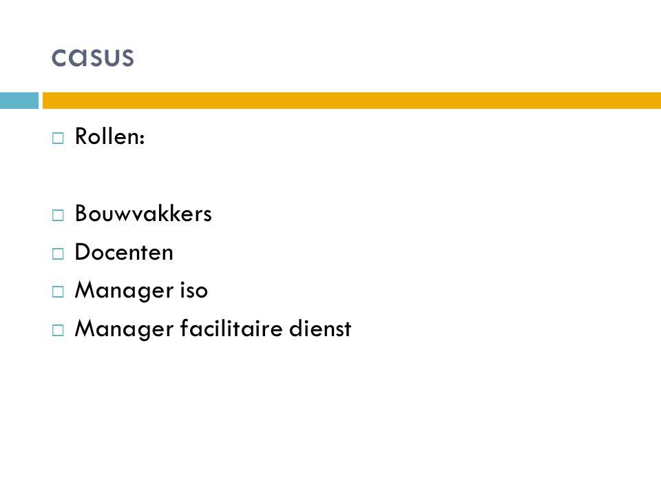 casus Rollen: Bouwvakkers Docenten Manager iso