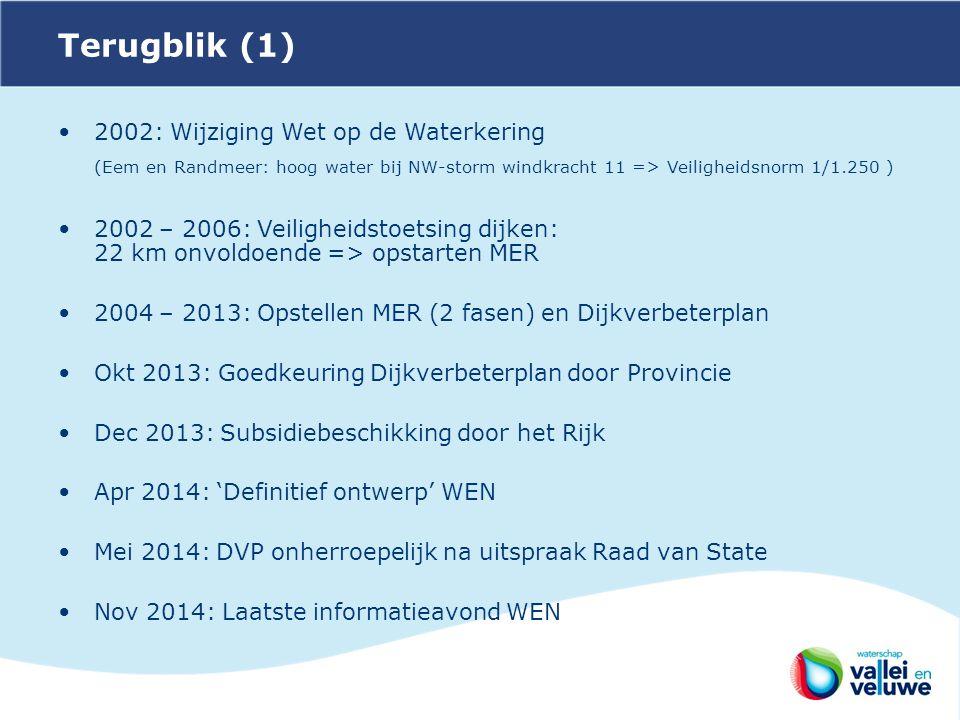 Terugblik (1) 2002: Wijziging Wet op de Waterkering. (Eem en Randmeer: hoog water bij NW-storm windkracht 11 => Veiligheidsnorm 1/1.250 )