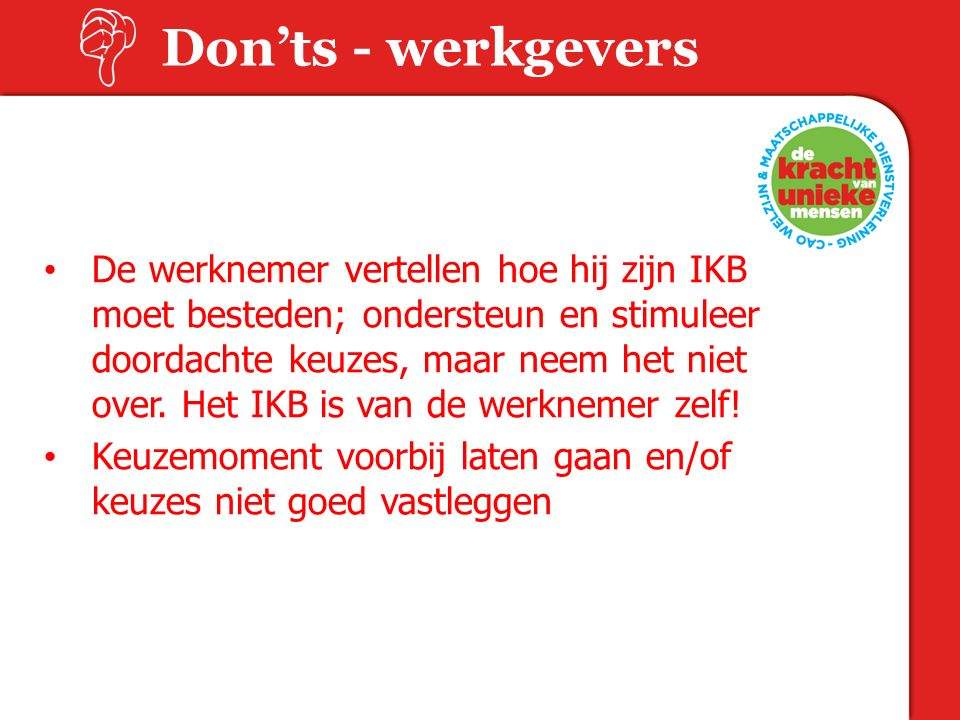 Don'ts - werkgevers