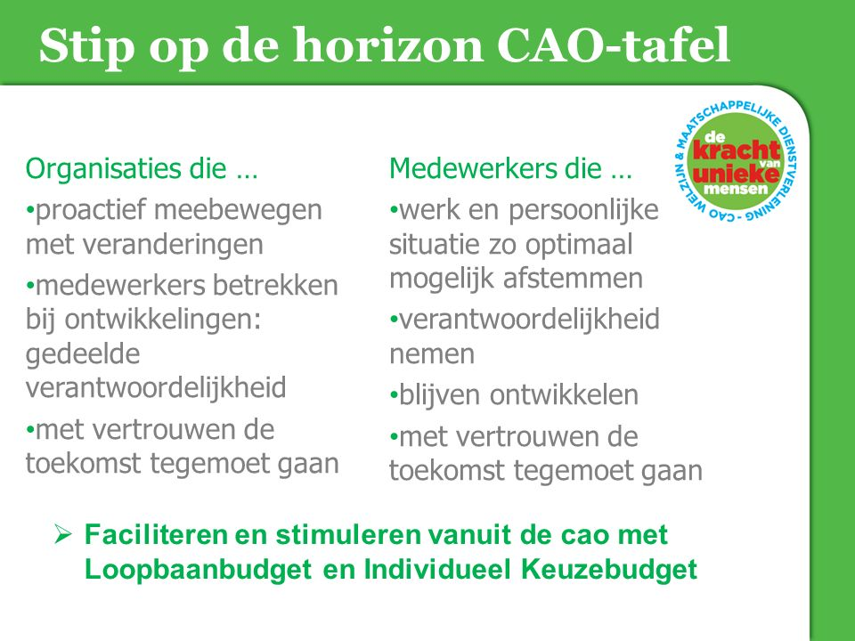 Stip op de horizon CAO-tafel