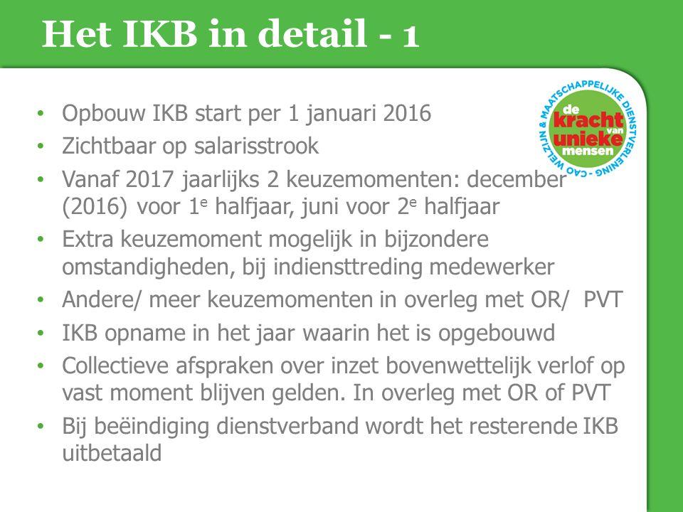 Het IKB in detail - 1 Opbouw IKB start per 1 januari 2016