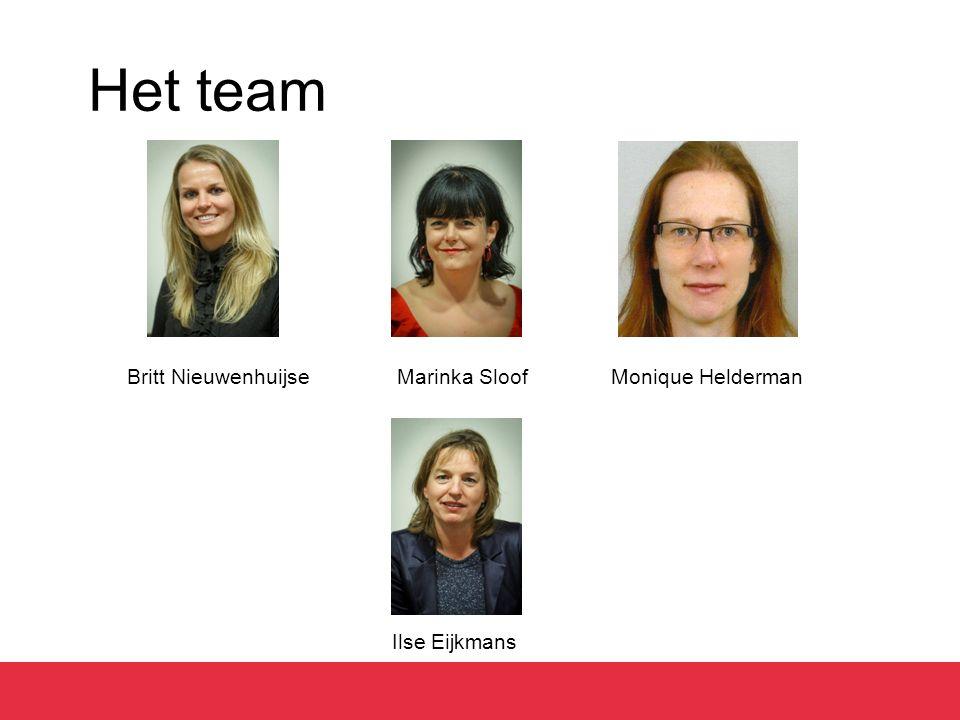 Het team Britt Nieuwenhuijse Marinka Sloof Monique Helderman