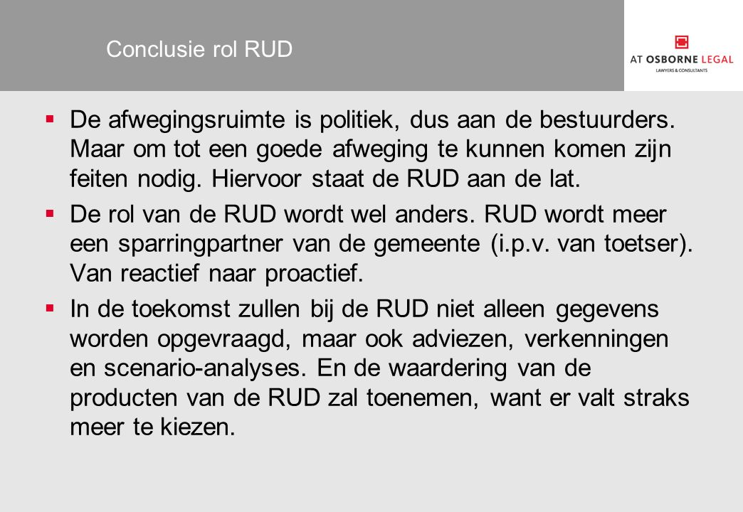 Conclusie rol RUD