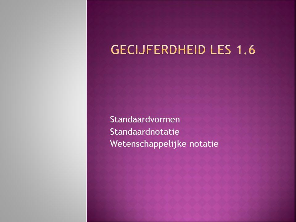 Standaardvormen Standaardnotatie Wetenschappelijke notatie