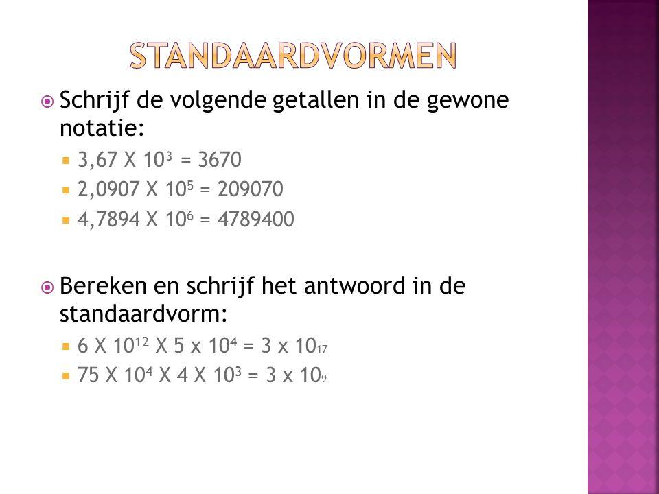 Standaardvormen Schrijf de volgende getallen in de gewone notatie: