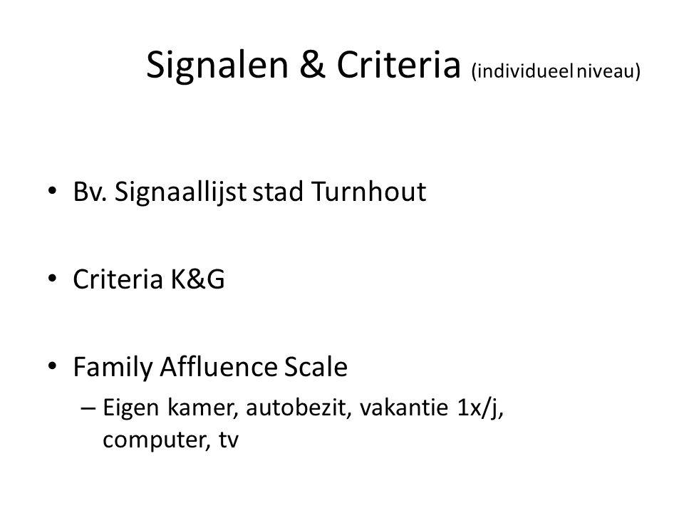 Signalen & Criteria (individueel niveau)