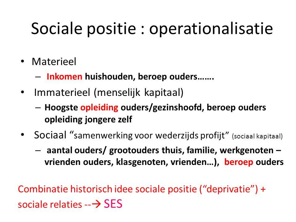 Sociale positie : operationalisatie
