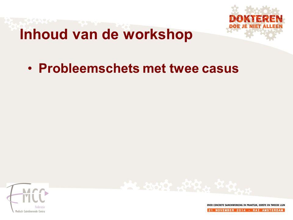 Inhoud van de workshop Probleemschets met twee casus