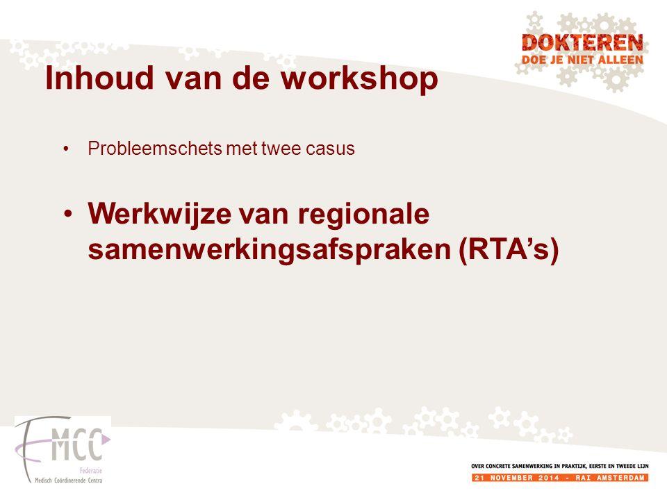 Inhoud van de workshop Probleemschets met twee casus.