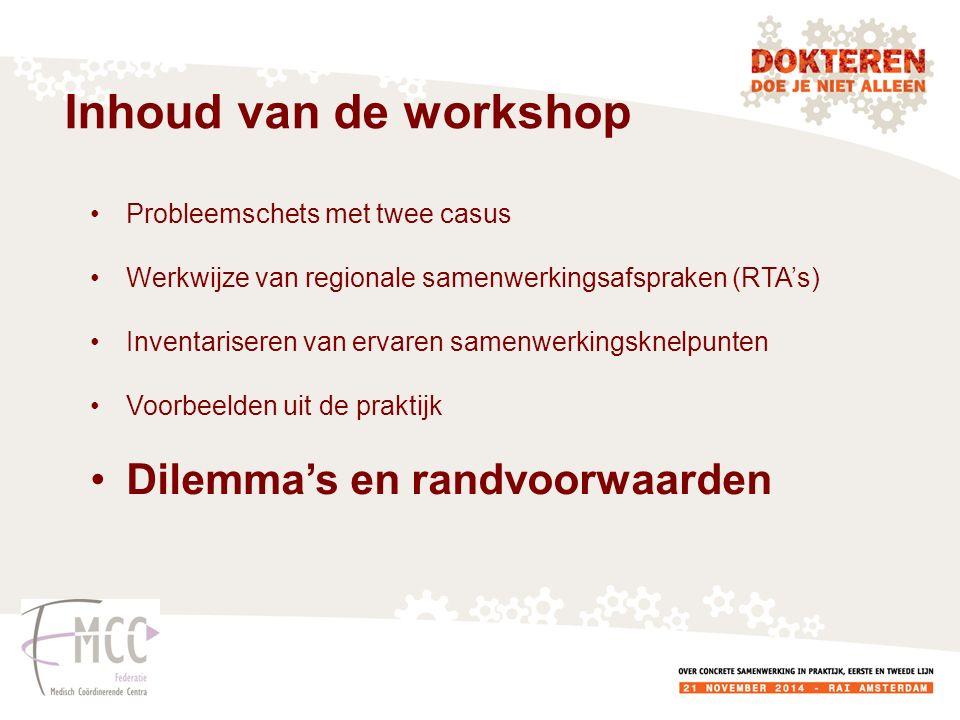 Inhoud van de workshop Dilemma's en randvoorwaarden