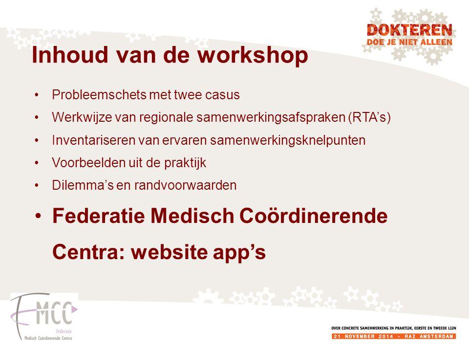 Inhoud van de workshop Probleemschets met twee casus. Werkwijze van regionale samenwerkingsafspraken (RTA's)
