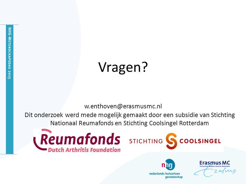 Vragen w.enthoven@erasmusmc.nl