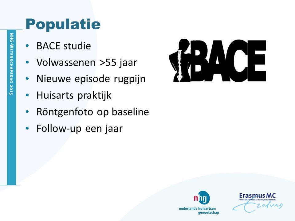 Populatie BACE studie Volwassenen >55 jaar Nieuwe episode rugpijn