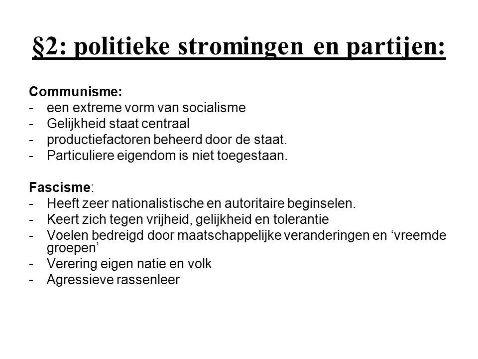 §2: politieke stromingen en partijen: