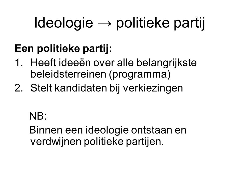 Ideologie → politieke partij
