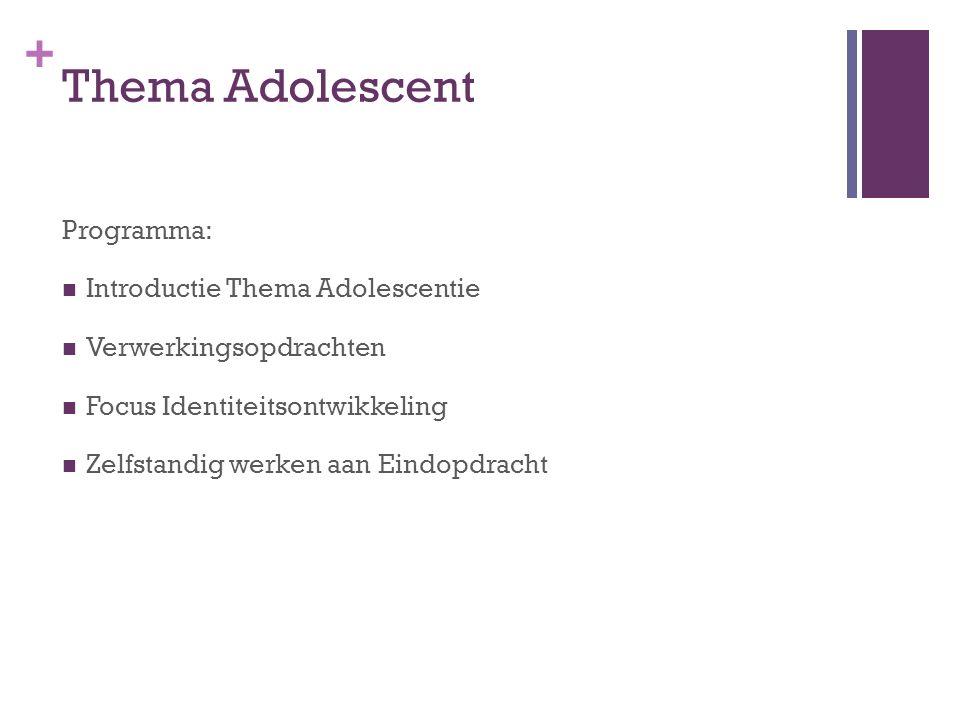 Thema Adolescent Programma: Introductie Thema Adolescentie