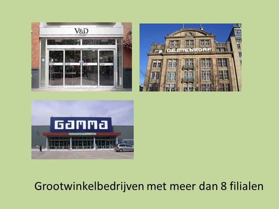 Grootwinkelbedrijven met meer dan 8 filialen