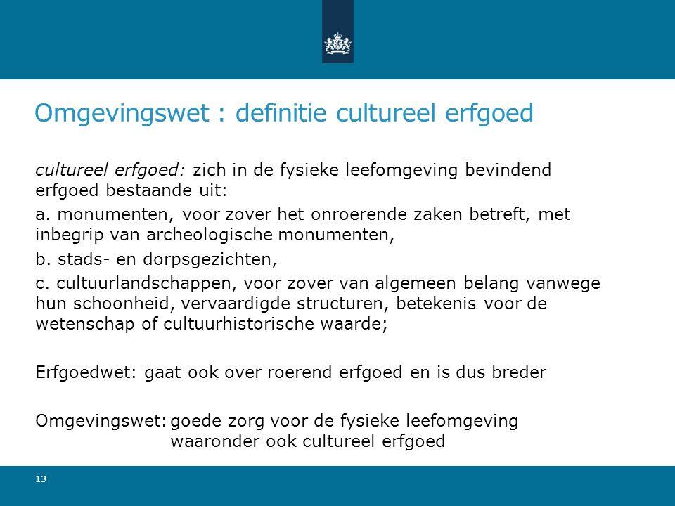 Omgevingswet : definitie cultureel erfgoed