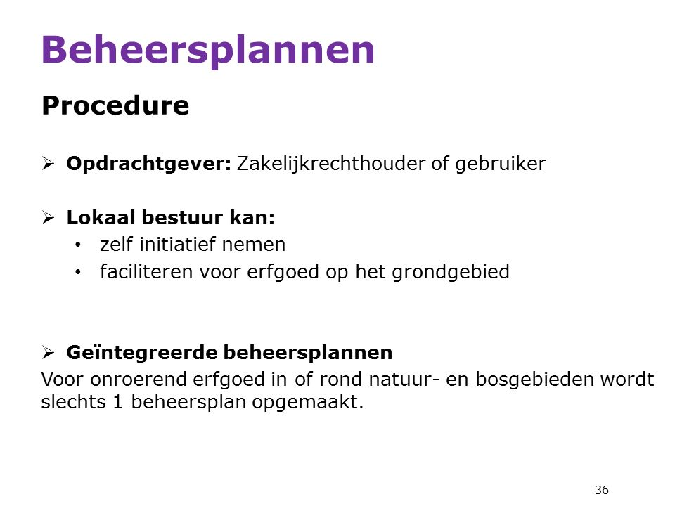 Beheersplannen Procedure