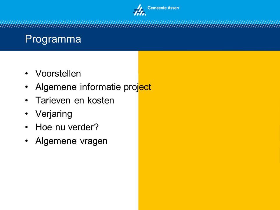 Programma Voorstellen Algemene informatie project Tarieven en kosten