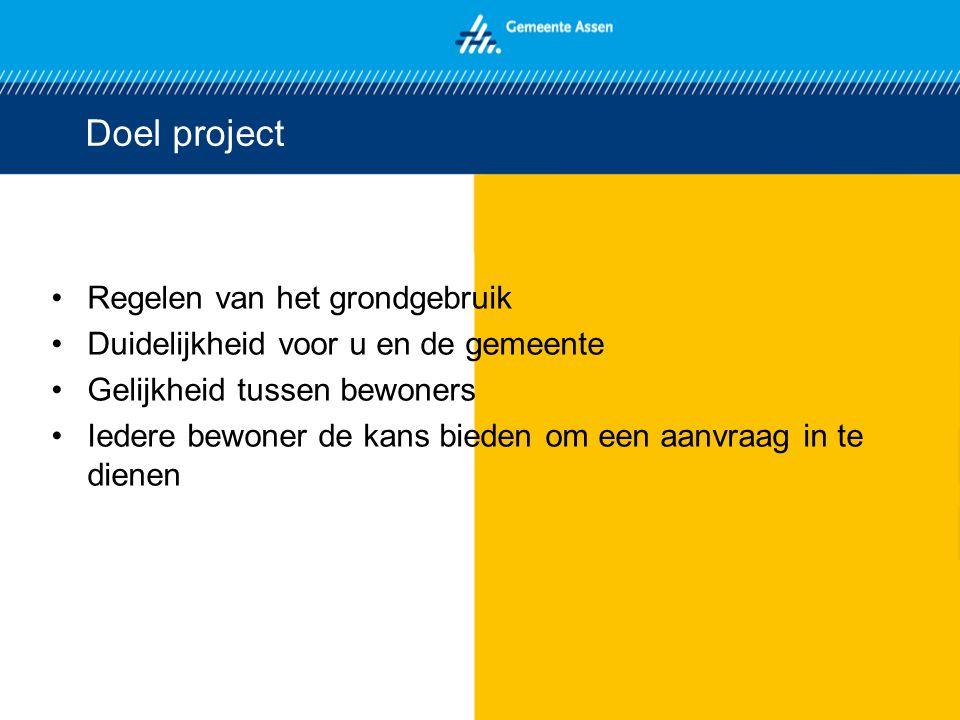 Doel project Regelen van het grondgebruik