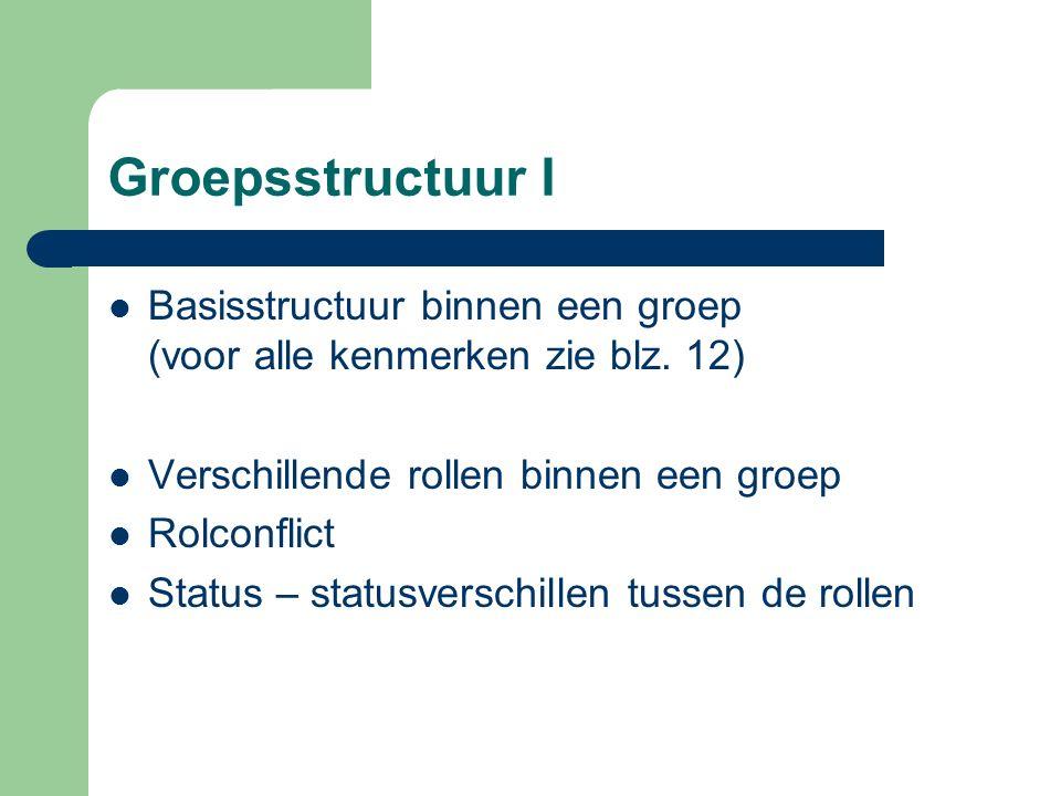Groepsstructuur I Basisstructuur binnen een groep (voor alle kenmerken zie blz. 12) Verschillende rollen binnen een groep.