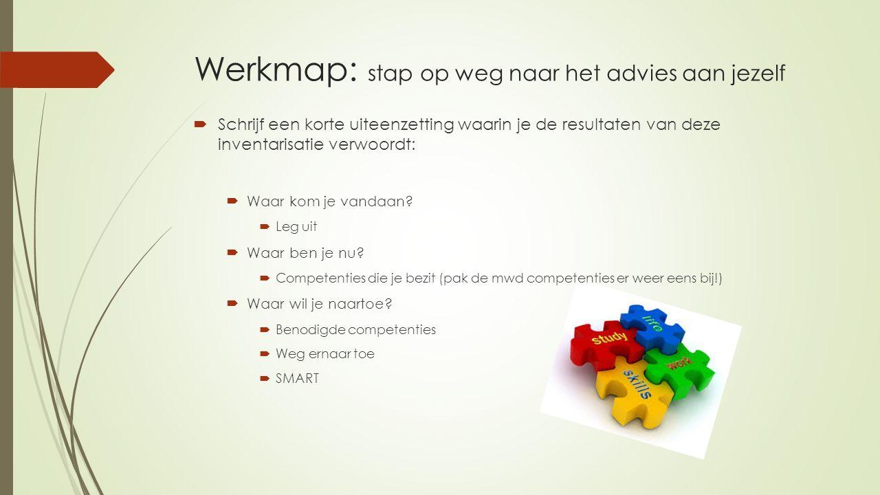 Werkmap: stap op weg naar het advies aan jezelf