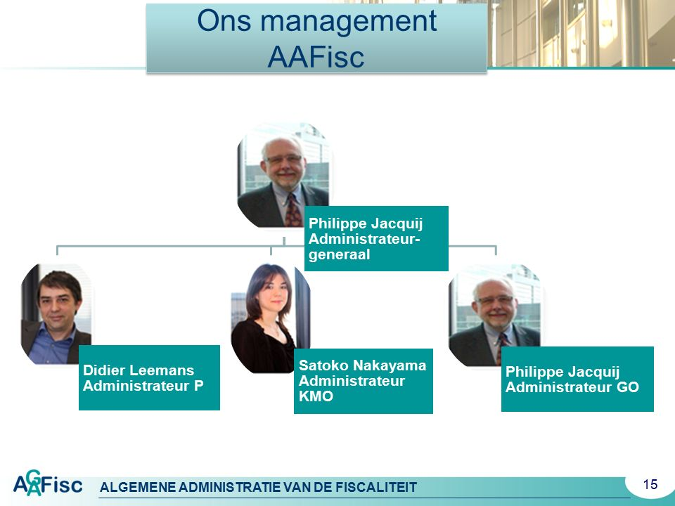 Ons management AAFisc Philippe Jacquij Administrateur-generaal