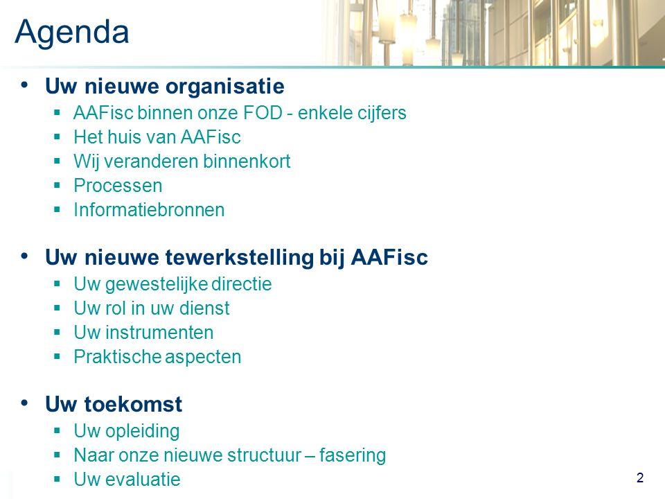 Agenda Uw nieuwe organisatie Uw nieuwe tewerkstelling bij AAFisc