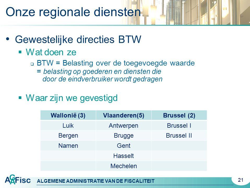 Onze regionale diensten