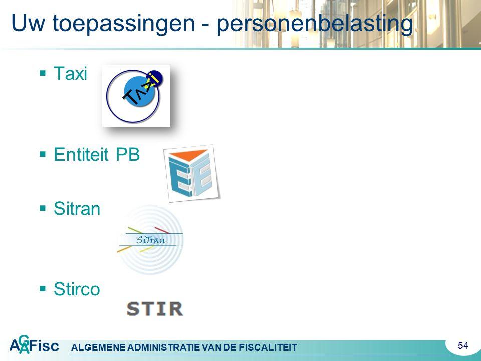 Uw toepassingen - personenbelasting