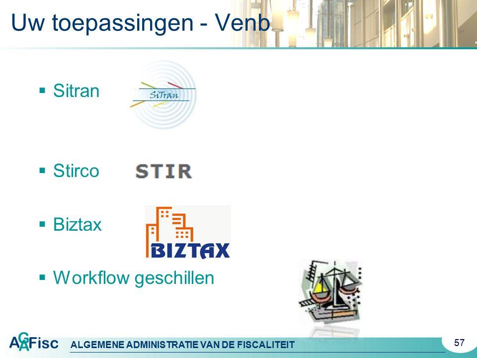 Uw toepassingen - Venb Sitran Stirco Biztax Workflow geschillen