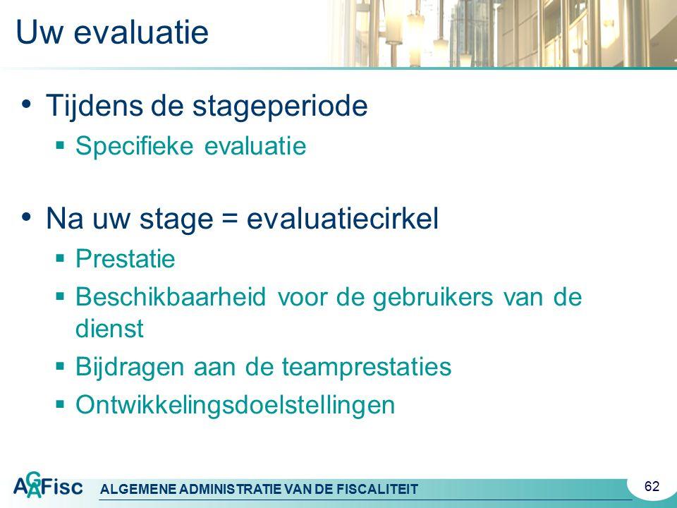 Uw evaluatie Tijdens de stageperiode Na uw stage = evaluatiecirkel