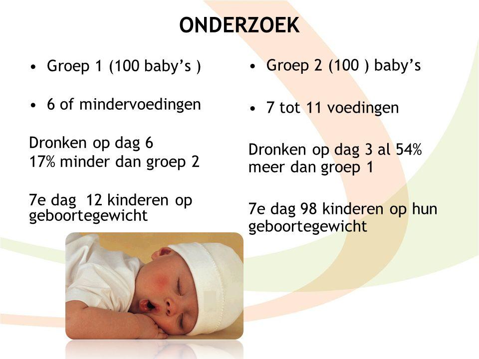ONDERZOEK Groep 2 (100 ) baby's Groep 1 (100 baby's )