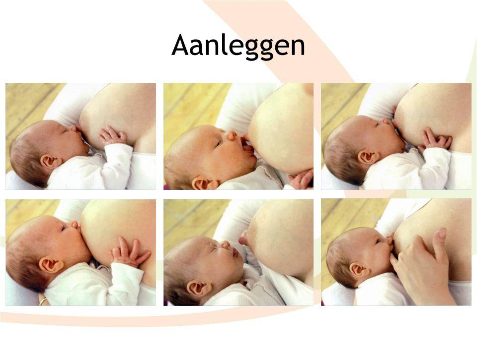 Aanleggen Goed aanleggen is heel belangrijk om tepelkloven / pijnlijke tepels te voorkomen. Volg natuurlijke reflexen van de baby.